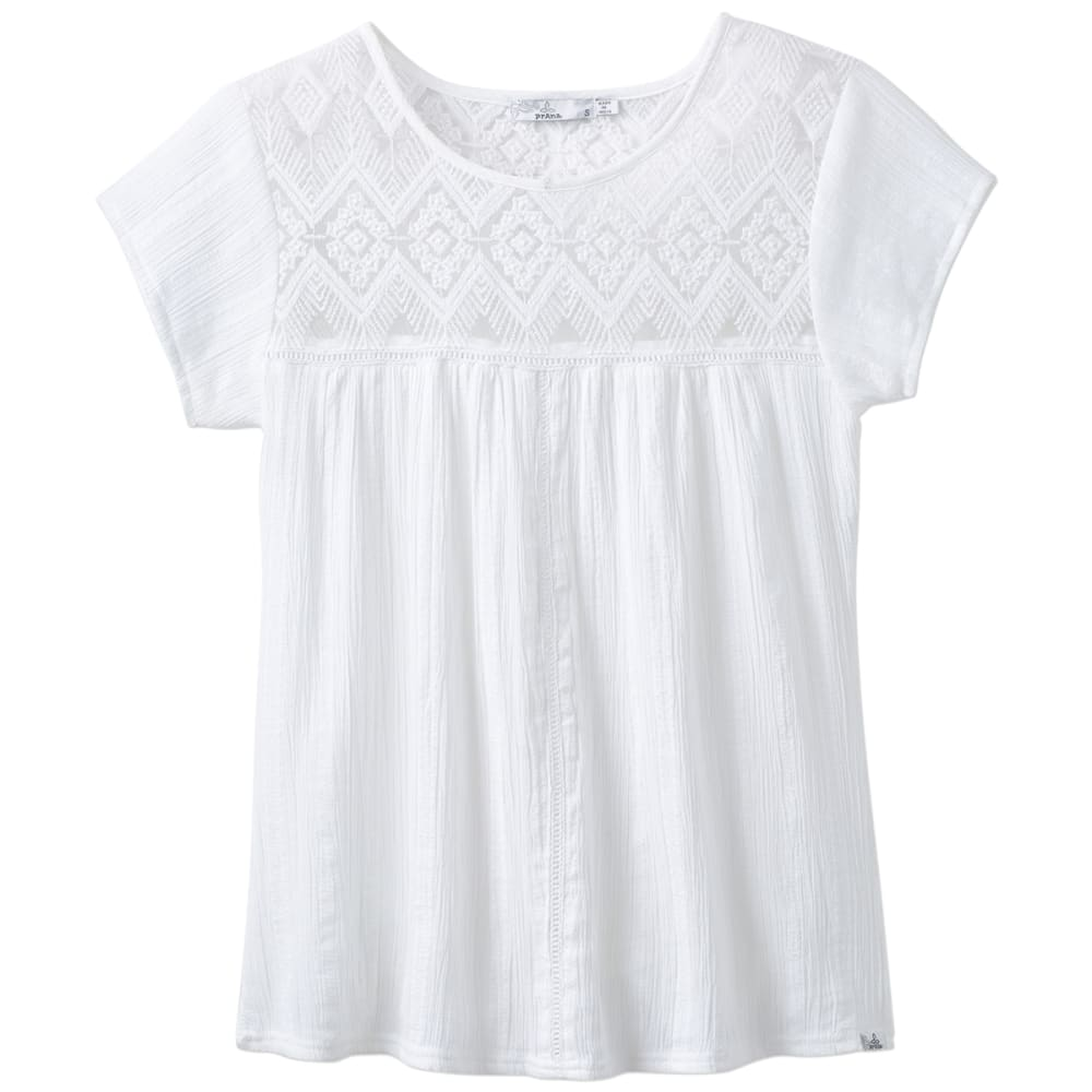 PRANA Women's Kora Short-Sleeve Top - WHT-WHITE