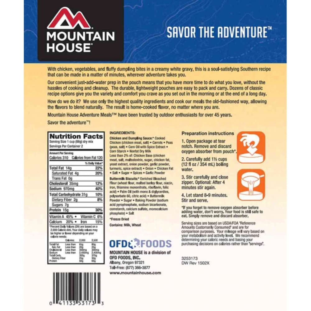 MOUNTAIN HOUSE Freeze-Dried Chicken and Dumplings - NO COLOR