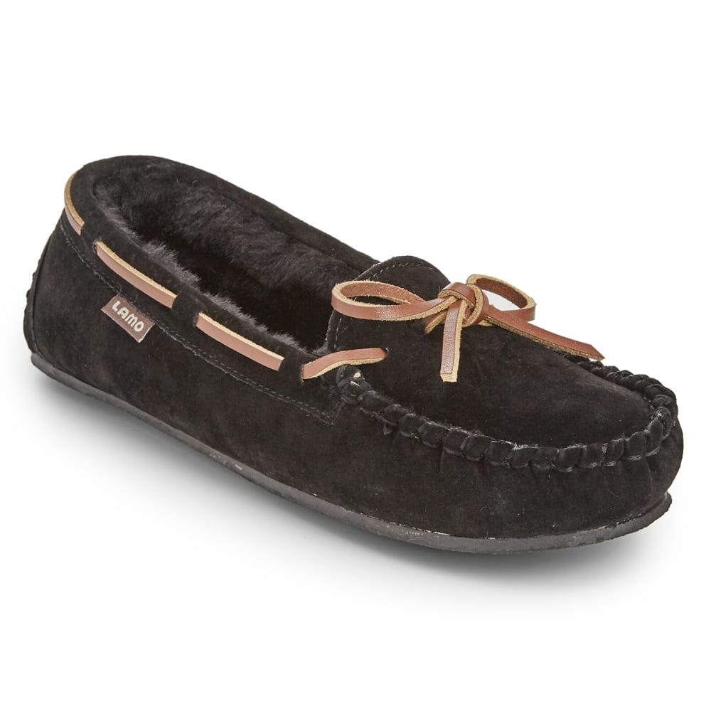 LAMO Women's Kayla Sherpa Moccasin Slippers, Black - BLACK