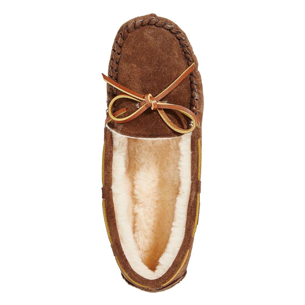 LAMO Women's Kayla Sherpa Moccasin Slippers, Chocolate - CHOCOLATE