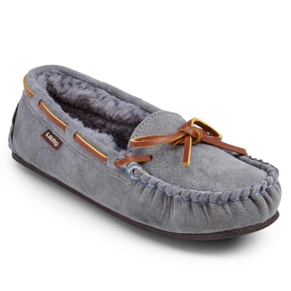 LAMO Women's Kayla Sherpa Moccasin Slippers, Charcoal - CHARCOAL