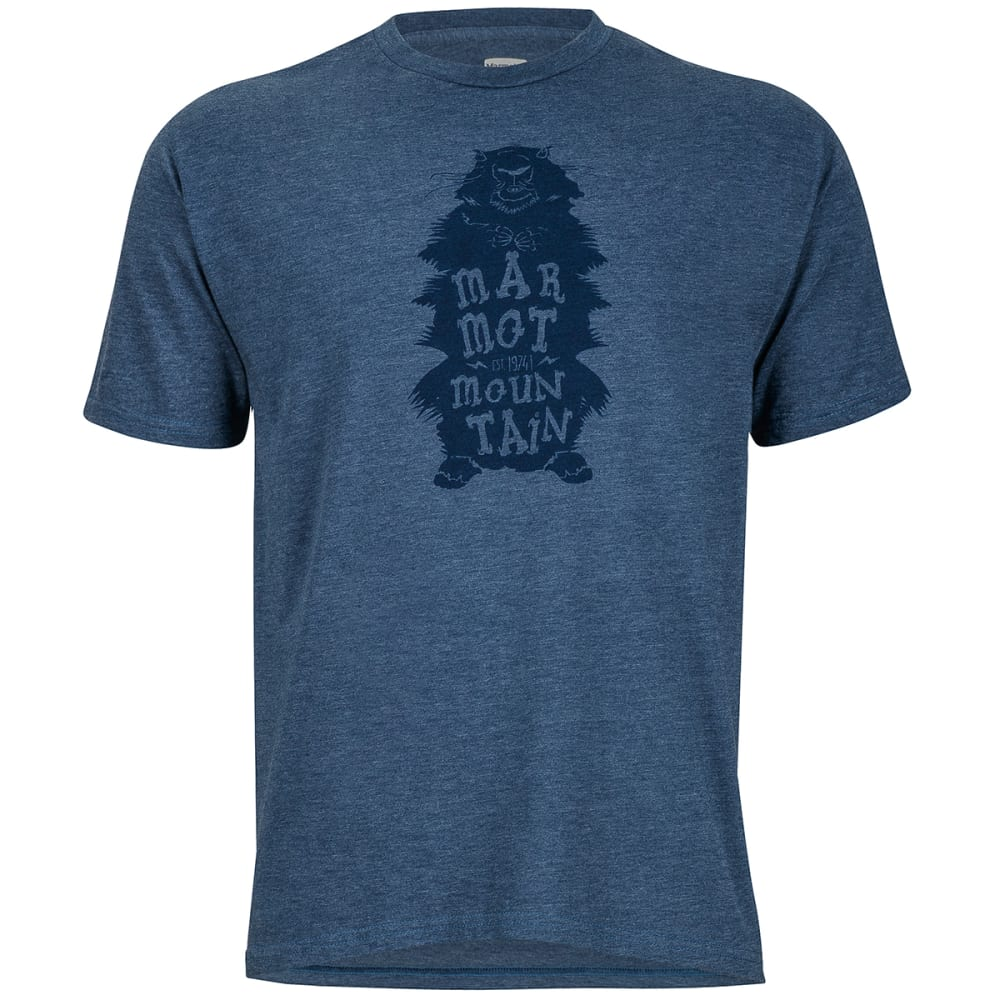 MARMOT Men's Woolly Marmot Graphic Tee - 8550-NAVY HTHR