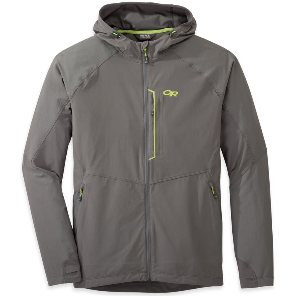 OUTDOOR RESEARCH Men's Ferrosi Hooded Jacket - 0054-PEWTER/LEMONGRA