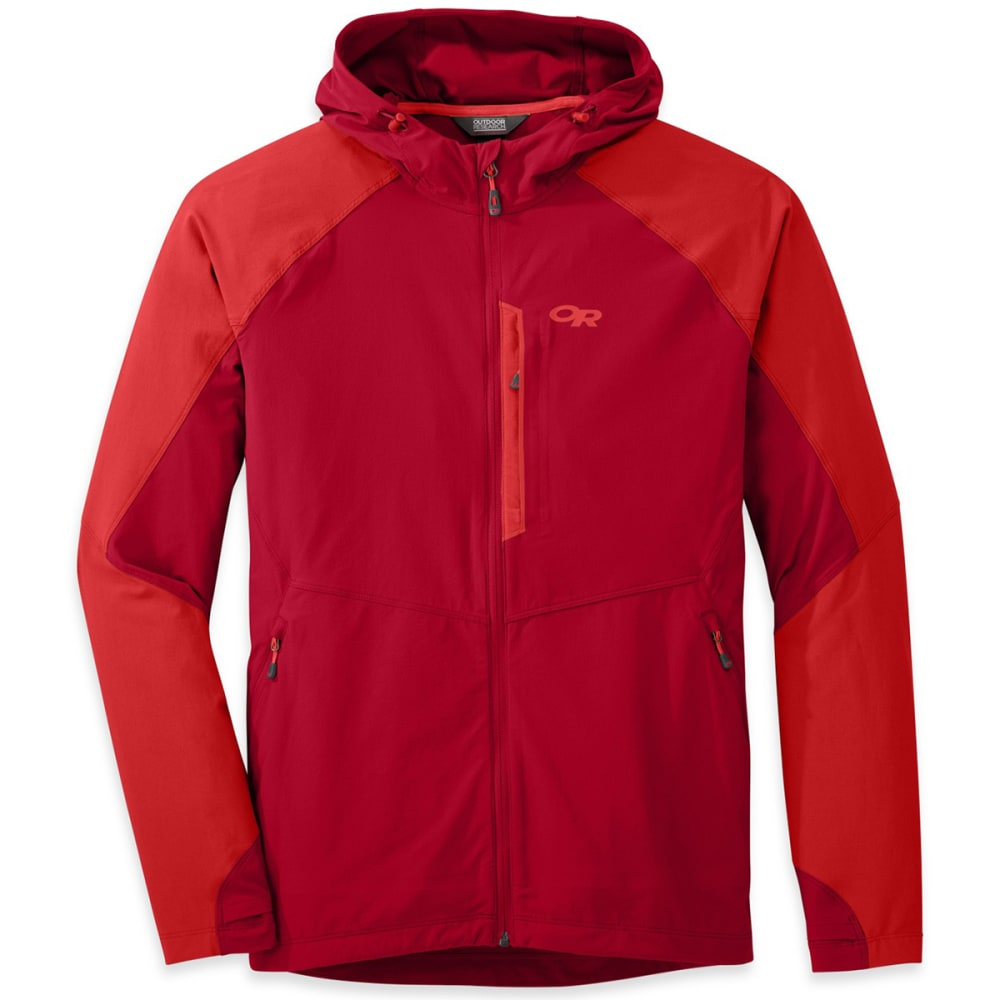 OUTDOOR RESEARCH Men's Ferrosi Hooded Jacket - AGATE/HOT SAUCE