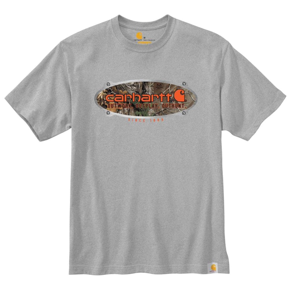 CARHARTT Men's Workwear Graphic Camo Metal Plate Short-Sleeve Tee - HEATHER GRAY 034