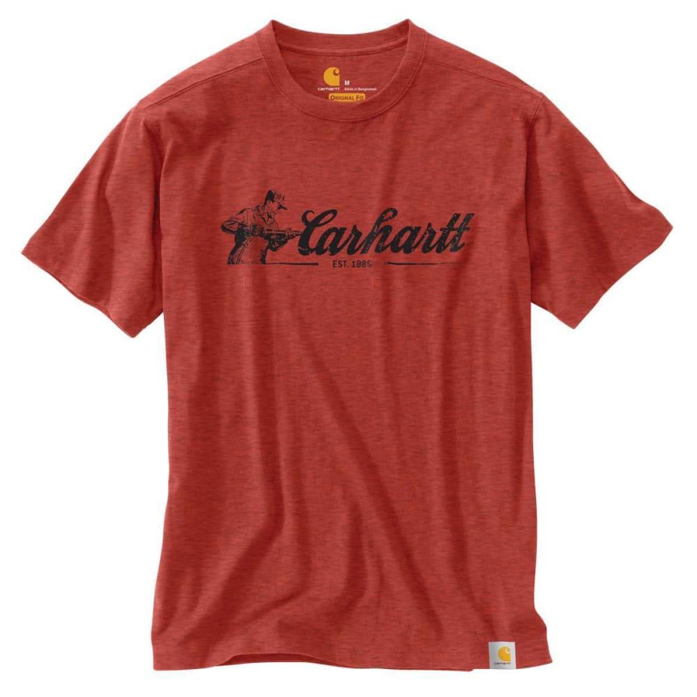 CARHARTT Men's Maddock Graphic Script Short-Sleeve Tee - CHILI HEATHER 041