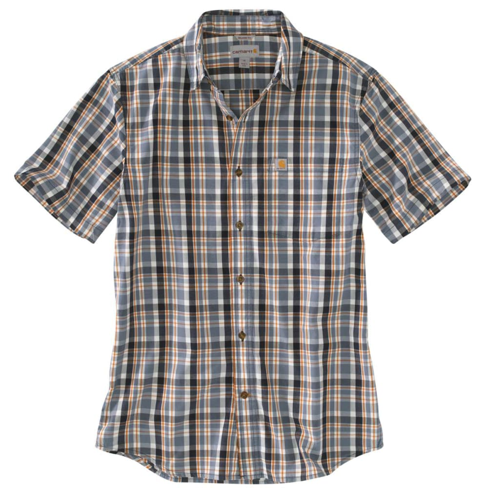 CARHARTT Men's Essential Plaid Open-Collar Short-Sleeve Shirt - STEEL BLUE 437