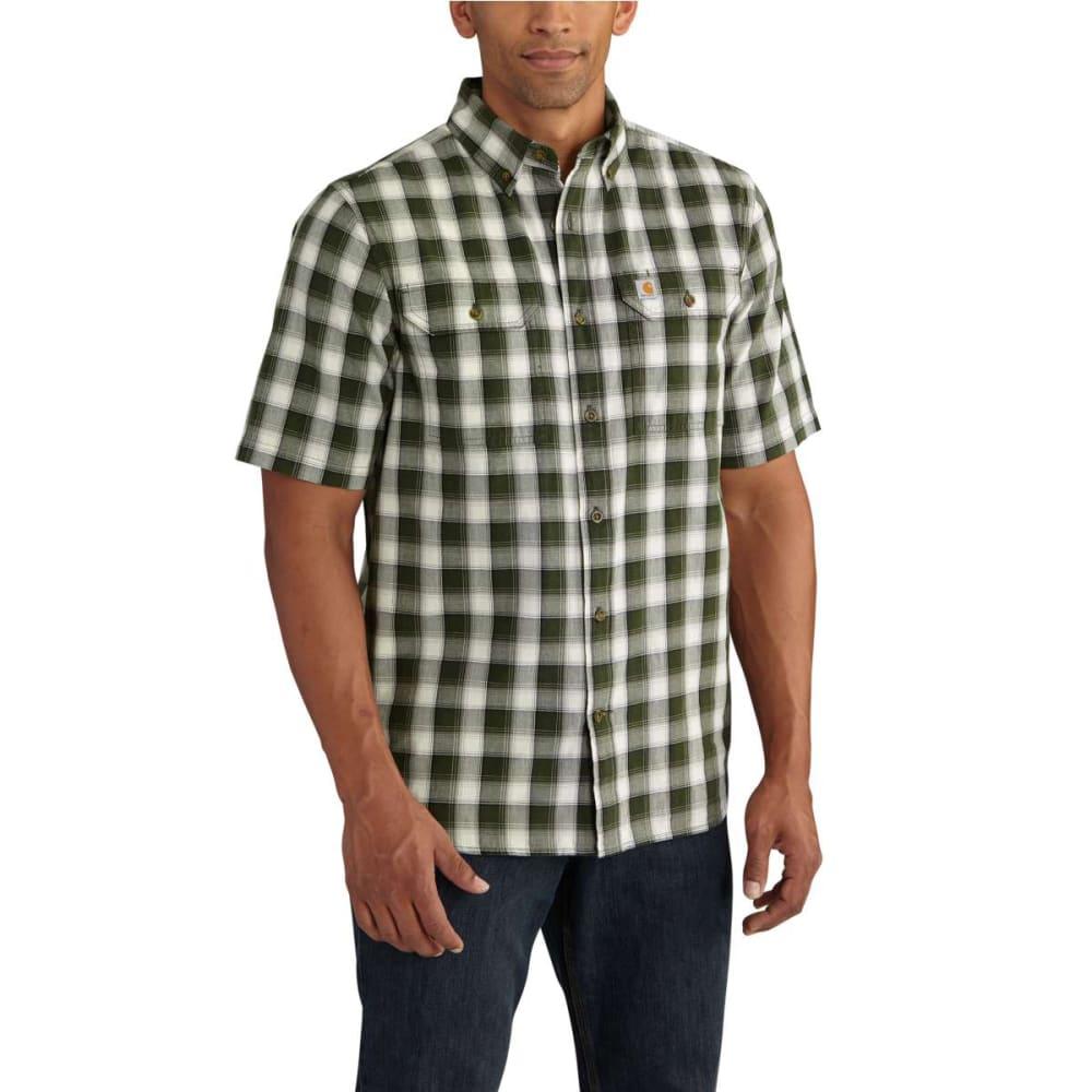 CARHARTT Men's Fort Plaid Chambray Short-Sleeve Shirt - DUFFLE BAG GREEN 309