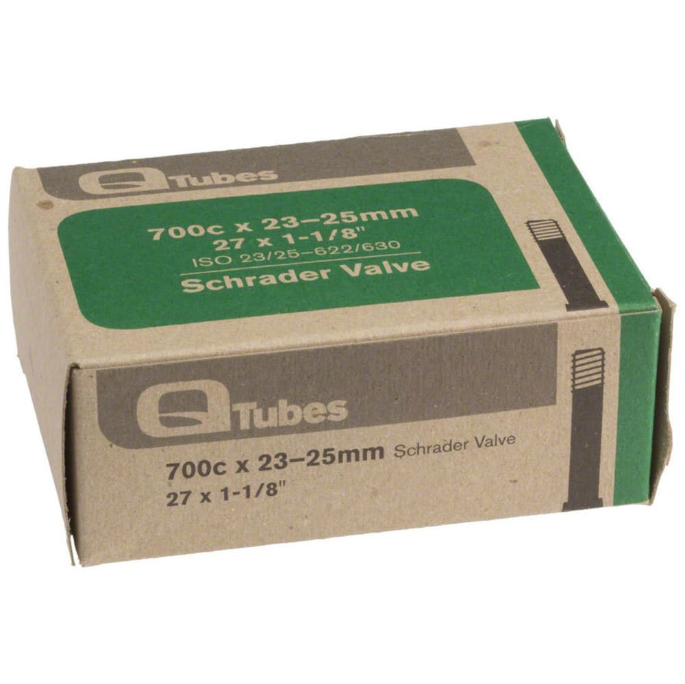 Q-TUBES 700c x 23-25mm, 27 x 1-1/8 in. Schrader Valve Bike Tube - NO COLOR
