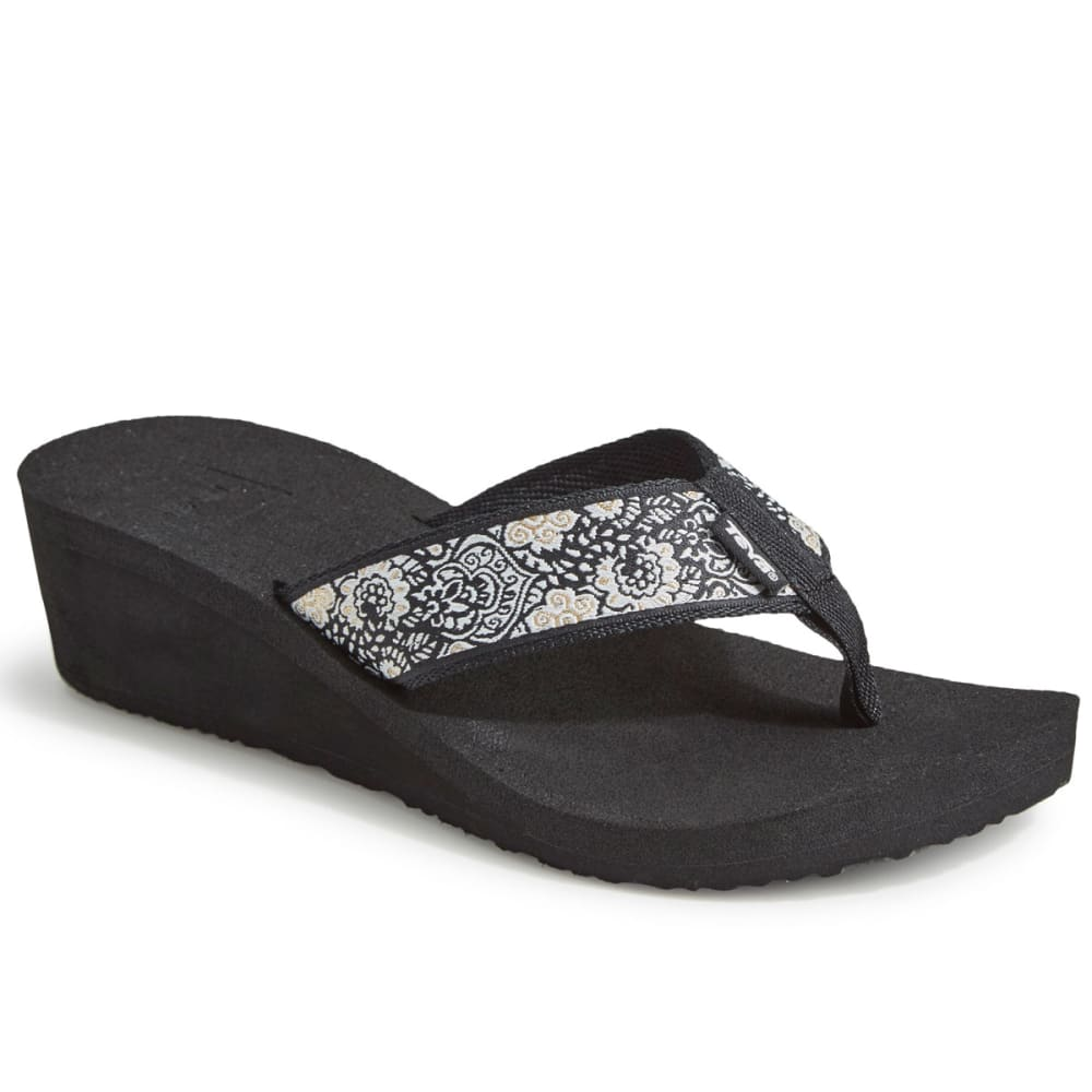 TEVA Women's Mush Mandalyn Wedge 2 Sandals, Harmony Black - BLACK/WHITE