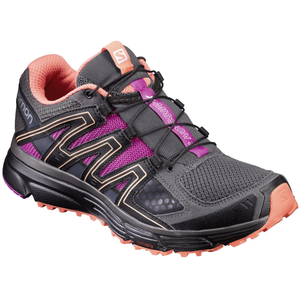 SALOMON Women's X-Mission 3 Trail Running Shoes, Magnet/Black/Rose Violet - MAGNET/BLACK/ROSE V