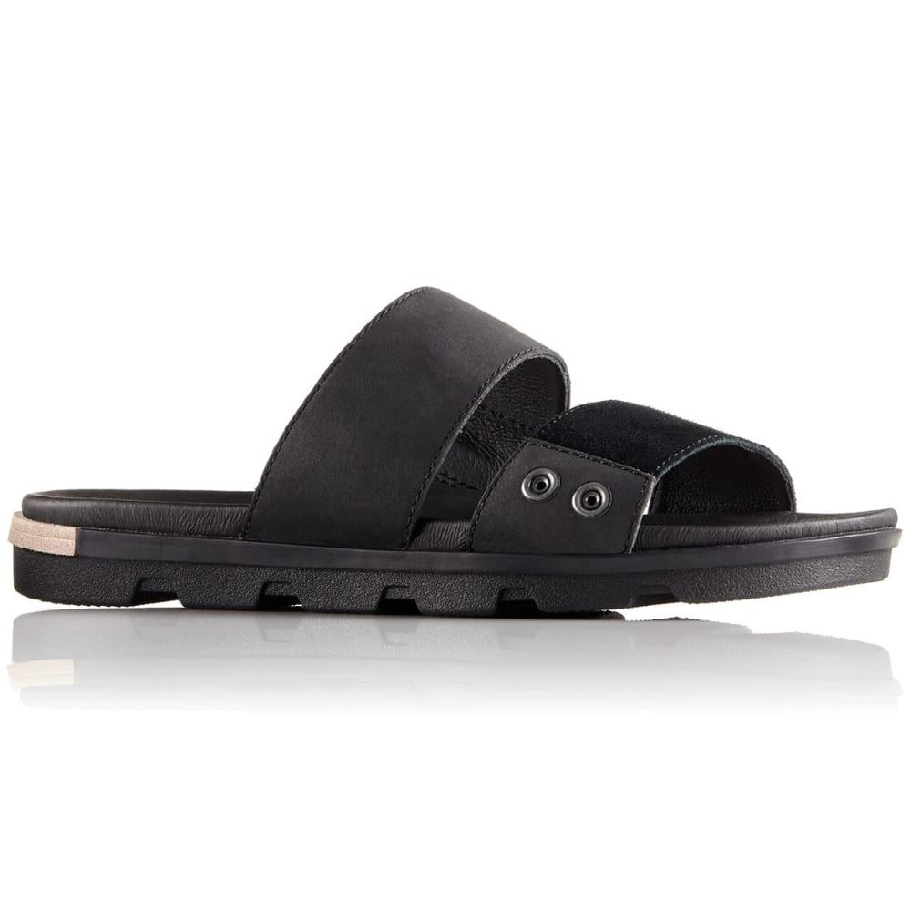 SOREL Women's Torpeda II Slide Sandals, Black/White - BLACK