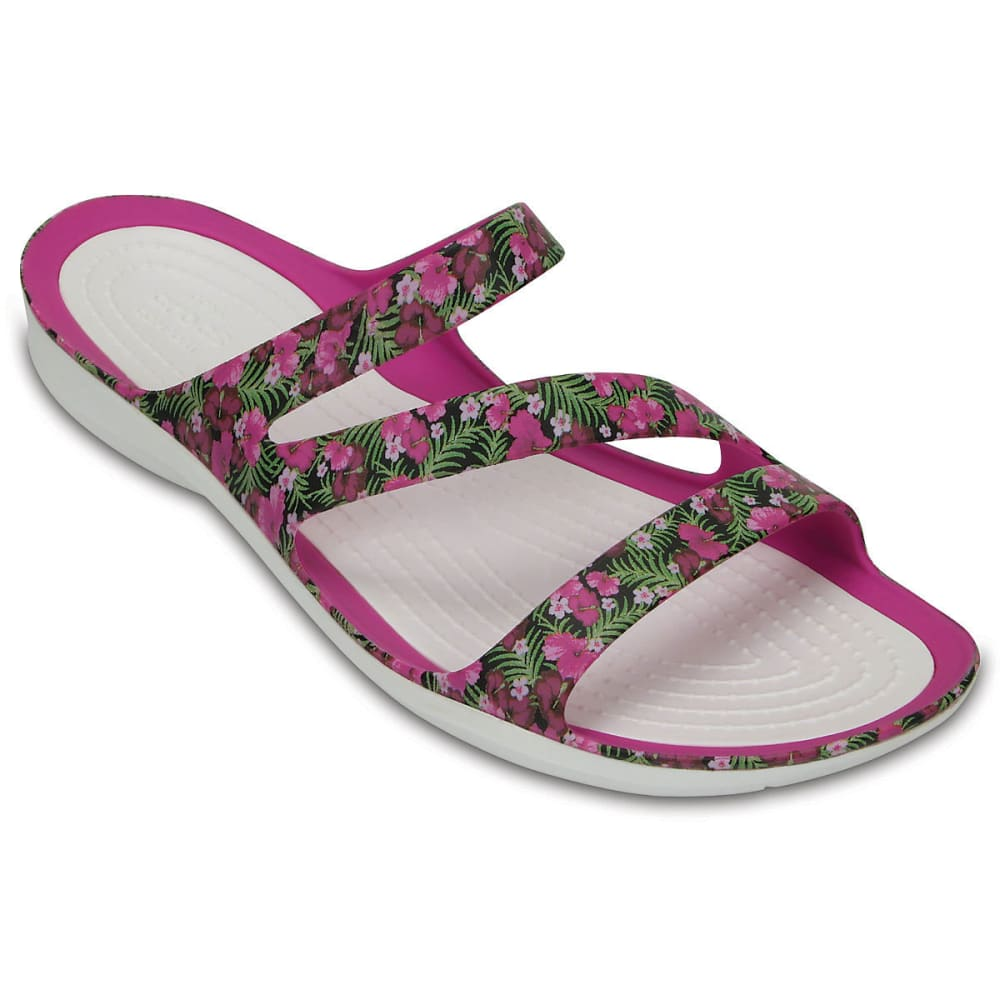 CROCS Women's Swiftwater Graphic Sandals, Pink Floral - PINK FLORAL
