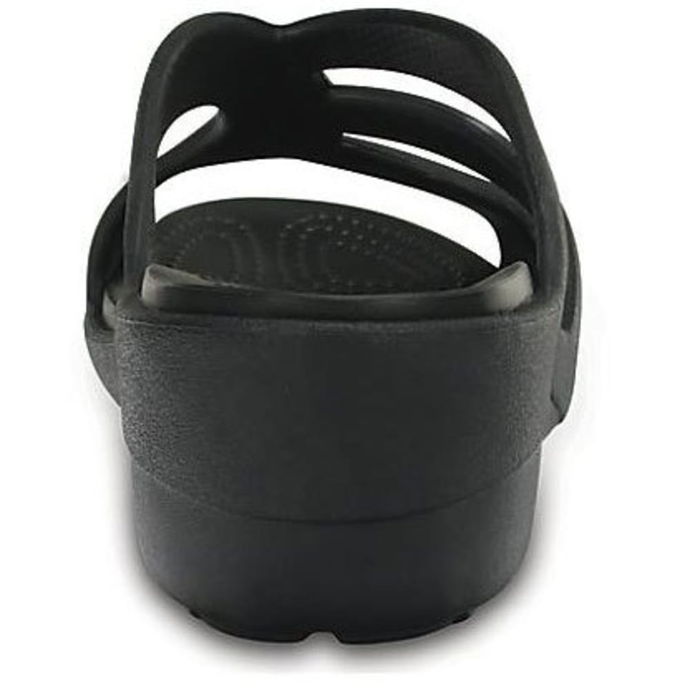 CROCS Women's Sanrah Strappy Wedge Sandals, Black - BLACK