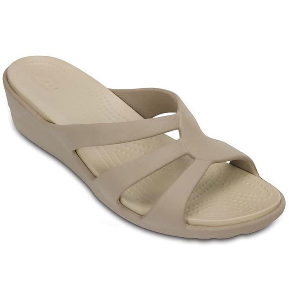 CROCS Women's Sanrah Strappy Wedge Sandals, Mushroom - MUSHROOM/COBBLESTONE