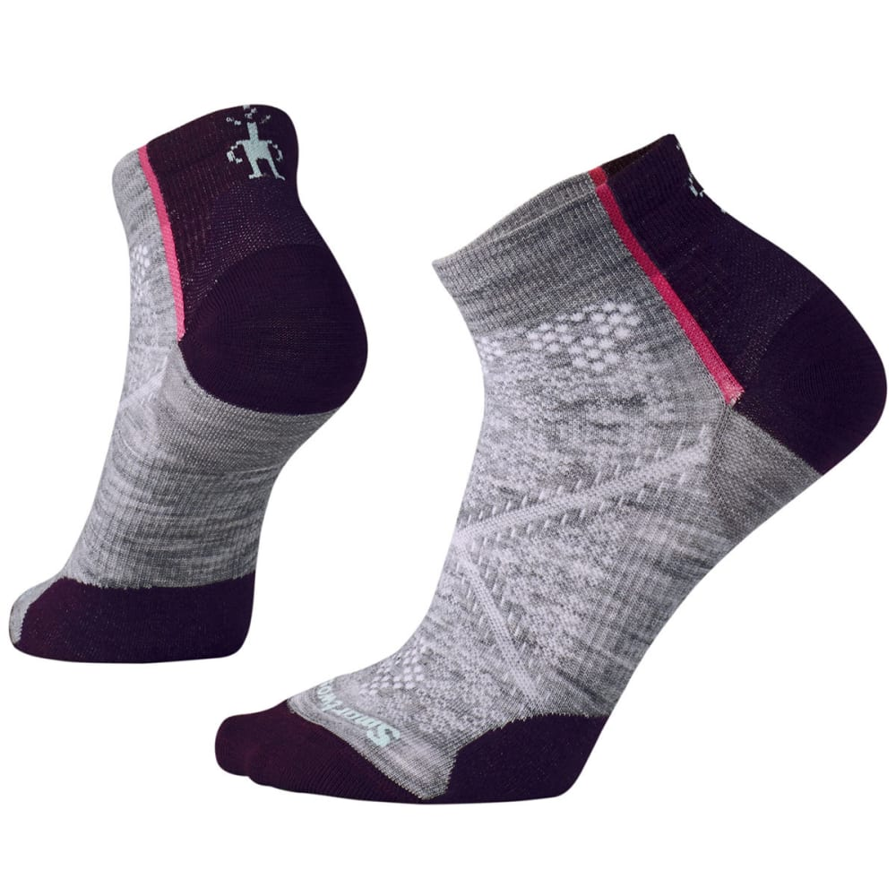 SMARTWOOL Women's PhD Cycle Ultra Light Low Cut Socks - 039-LIGHT GRAY