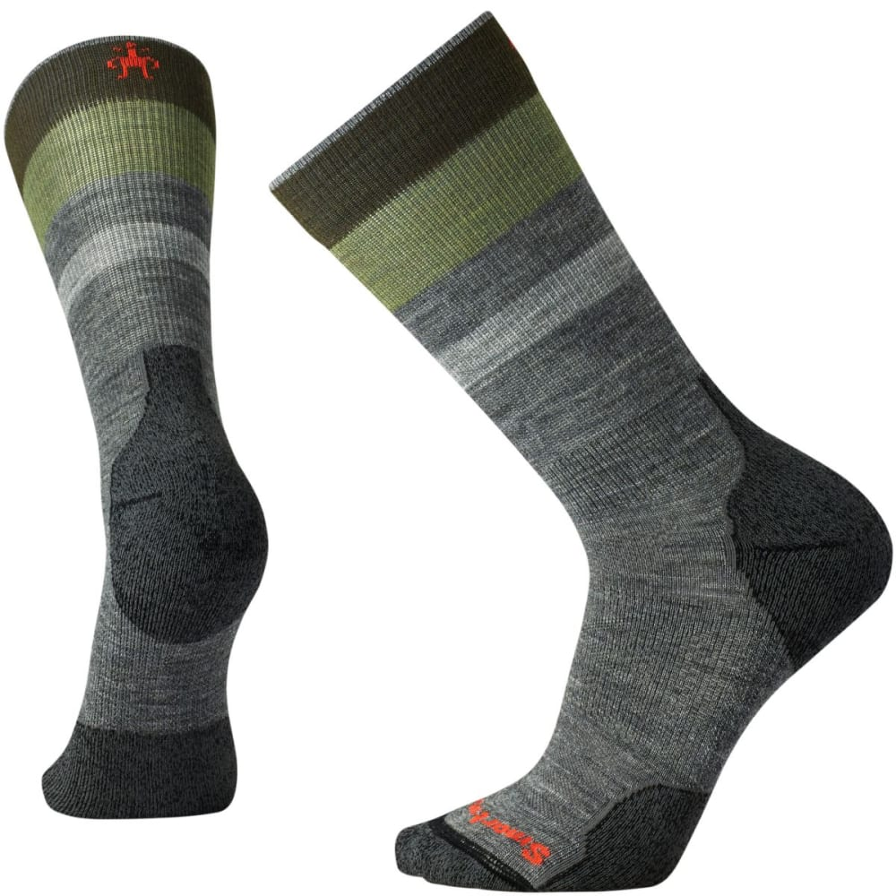 SMARTWOOL Men's PhD Outdoor Light Pattern Crew Socks - MED GREY 052
