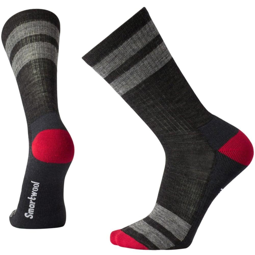 SMARTWOOL Men's Striped Hike Light Crew Socks - CHARCOAL 003