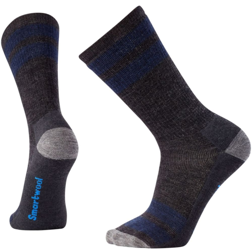 SMARTWOOL Men's Striped Hike Medium Crew Socks - CHARCOAL-003