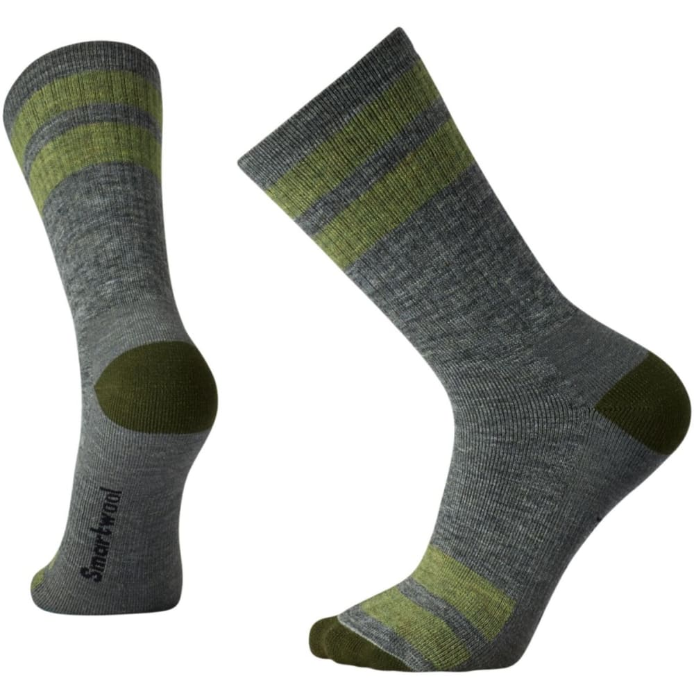 SMARTWOOL Men's Striped Hike Medium Crew Socks - GREY-052