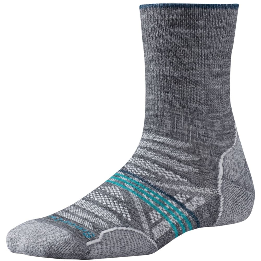 SMARTWOOL Women's PhD Outdoor Light Mid Crew Socks - MED GRAY-052
