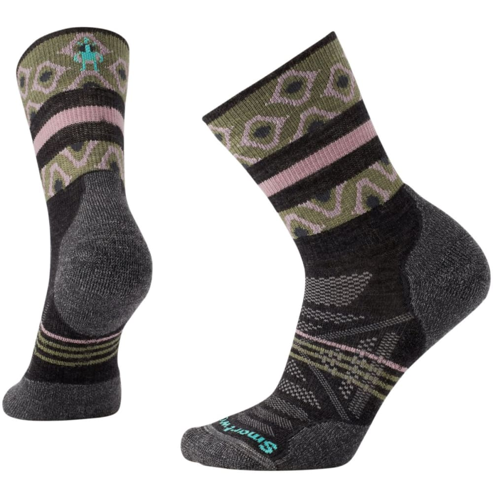 SMARTWOOL Women's PhD Outdoor Light Pattern Mid-Crew Socks - CHARCOAL-003