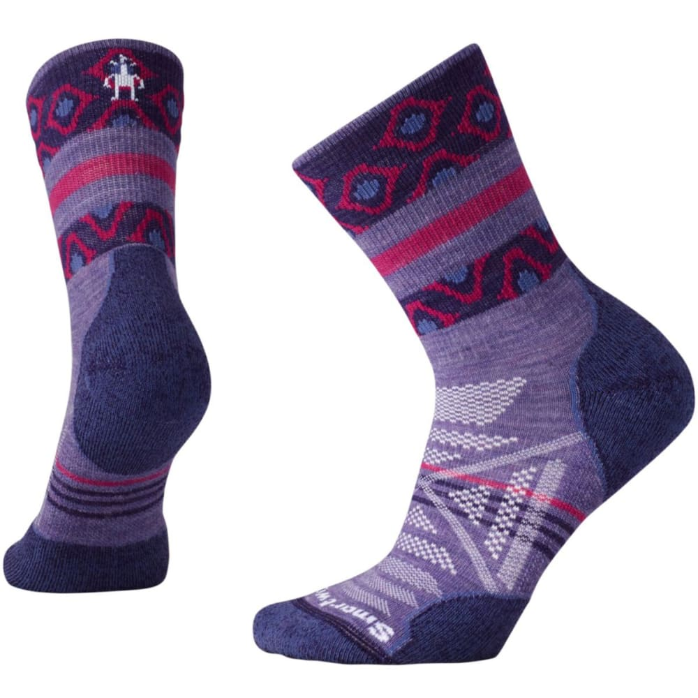 SMARTWOOL Women's PhD Outdoor Light Pattern Mid-Crew Socks - LAVENDER 511