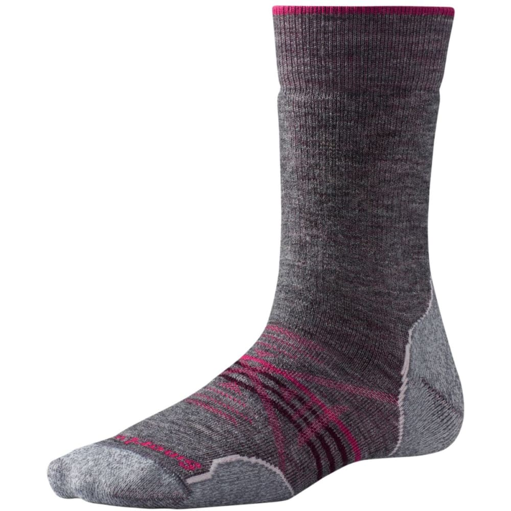 SMARTWOOL Women's PhD Outdoor Medium Crew Socks - MED GRAY 052