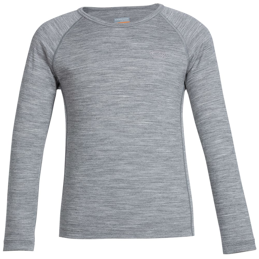 ICEBREAKER Boys' Oasis Crewneck Long-Sleeve Shirt - METRO GREY 02