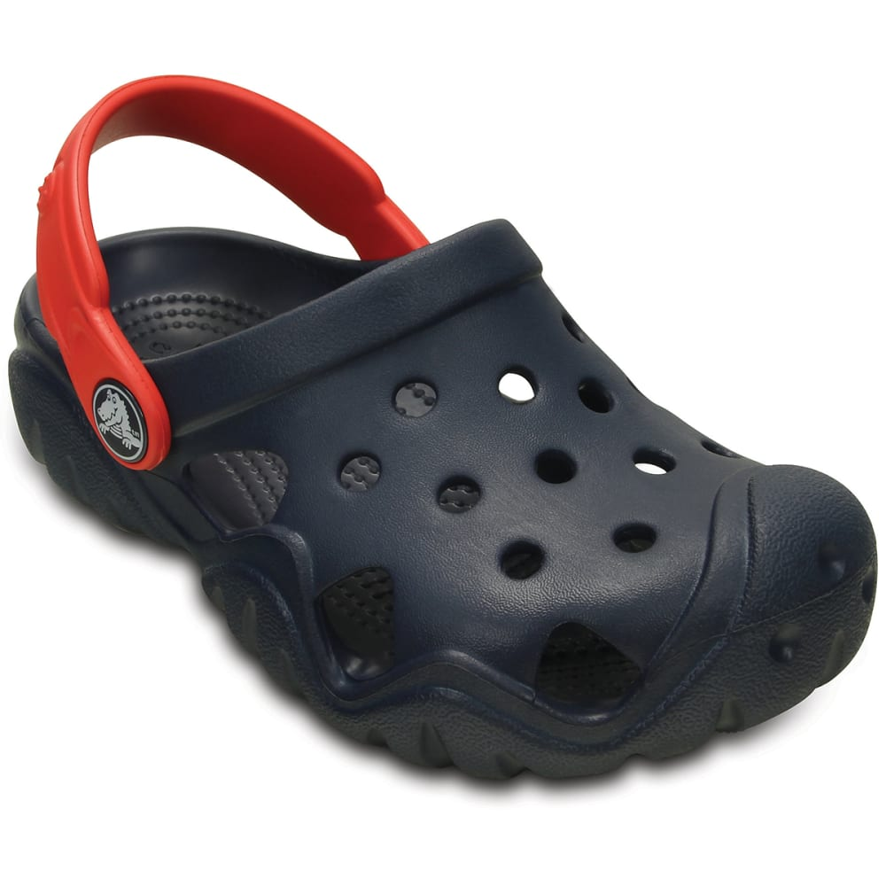 CROCS Boys' Swiftwater Clogs, Navy/Flame - NAVY/FLAME -4BA