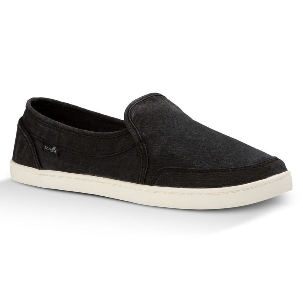 SANUK Women's Pair O Dice Slip-On Shoes, Washed Black - BLACK
