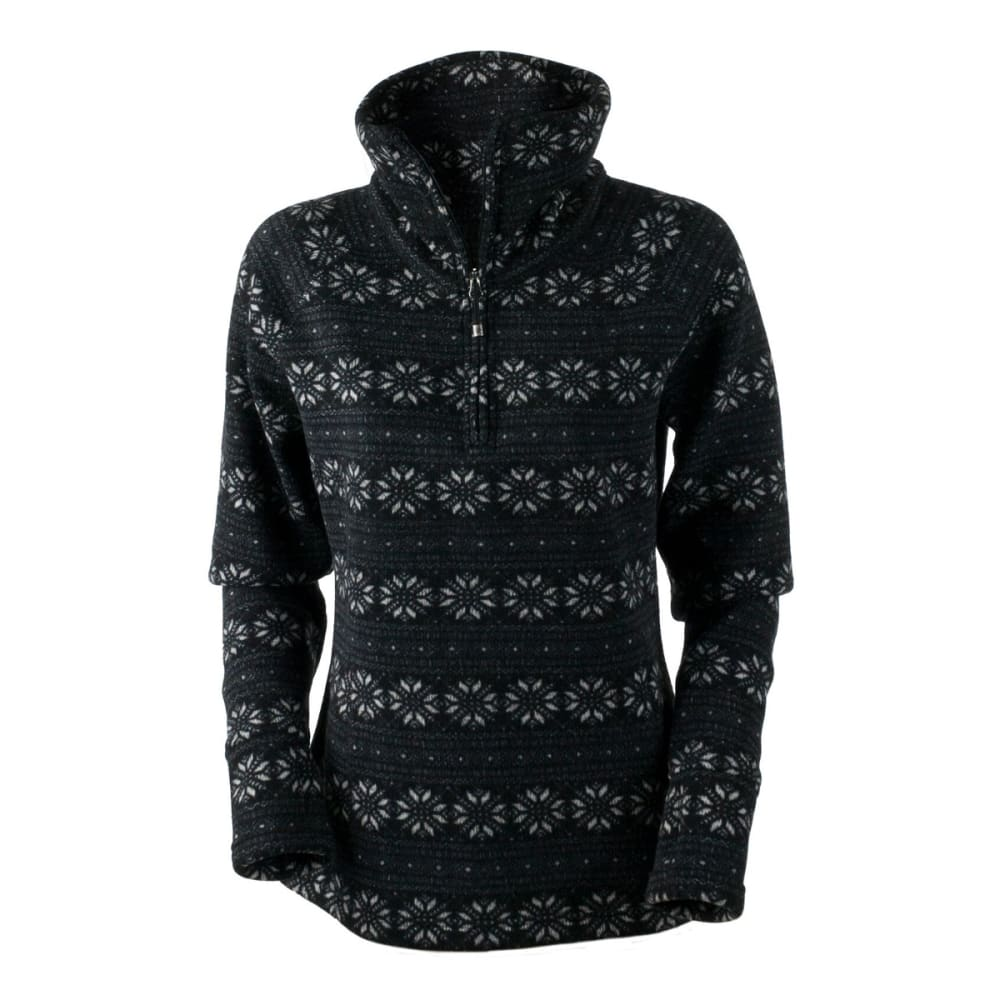 OBERMEYER Women's Brandi Fleece Top - BLACK SNOWFLAKE