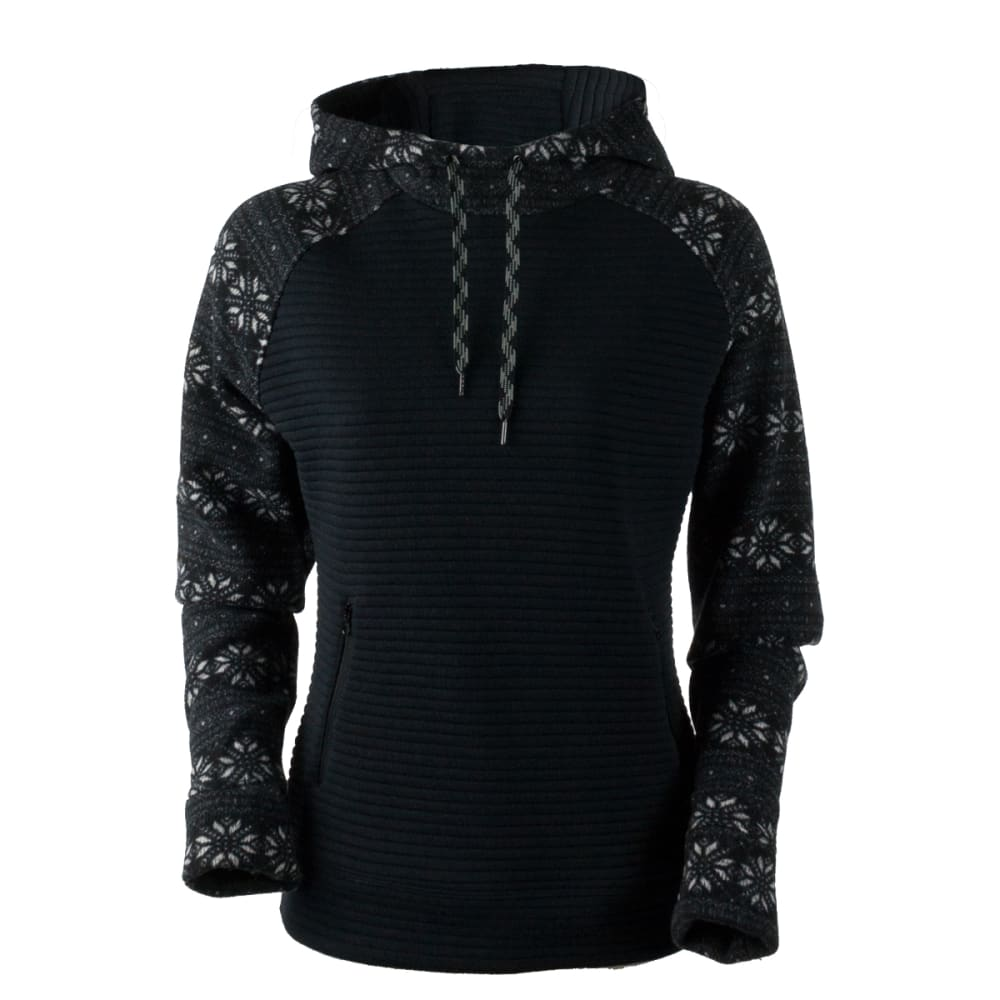 OBERMEYER Women's Gracey Hooded Fleece Pullover - BLACK SNOWFLAKE