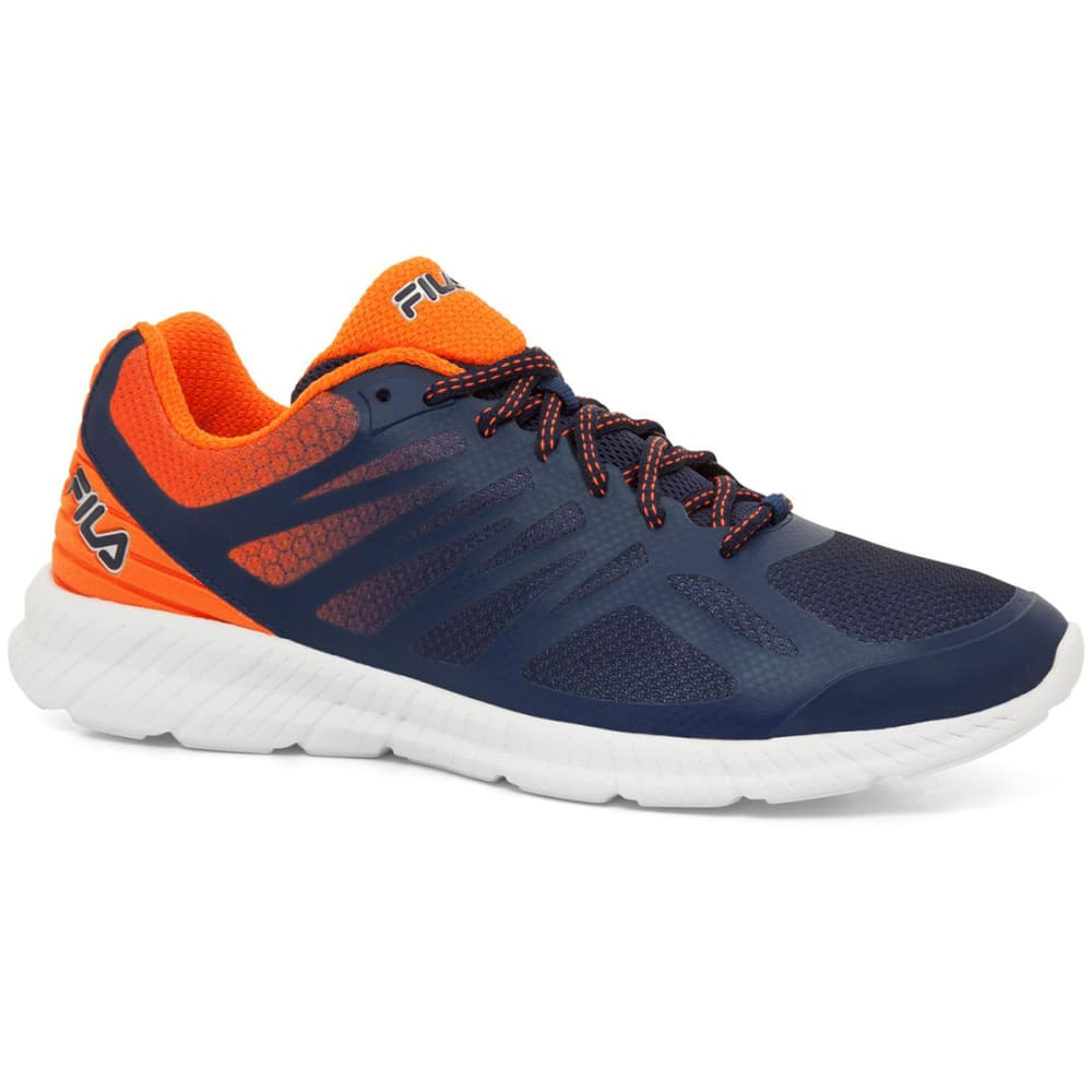 FILA Men's Memory Speedstripe Running Shoes, Navy/Orange - NAVY