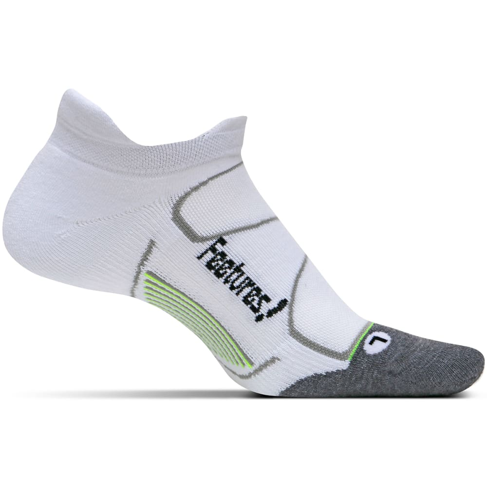 FEETURES Unisex Elite Max Cushion No-Show Tab Socks - WHITE/BLK