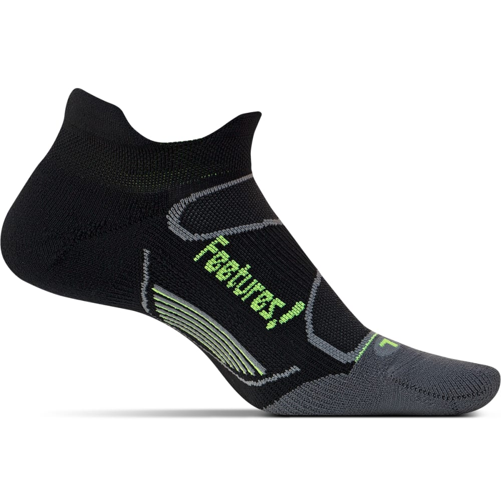 FEETURES Unisex Elite Light Cushion No-Show Tab Socks - BLACK/REFLECTOR