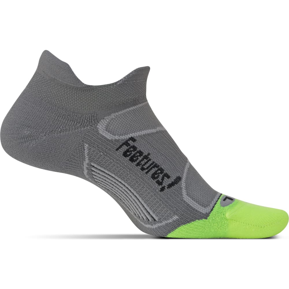 FEETURES Unisex Elite Light Cushion No-Show Tab Socks - GRAPHITE/ BLK