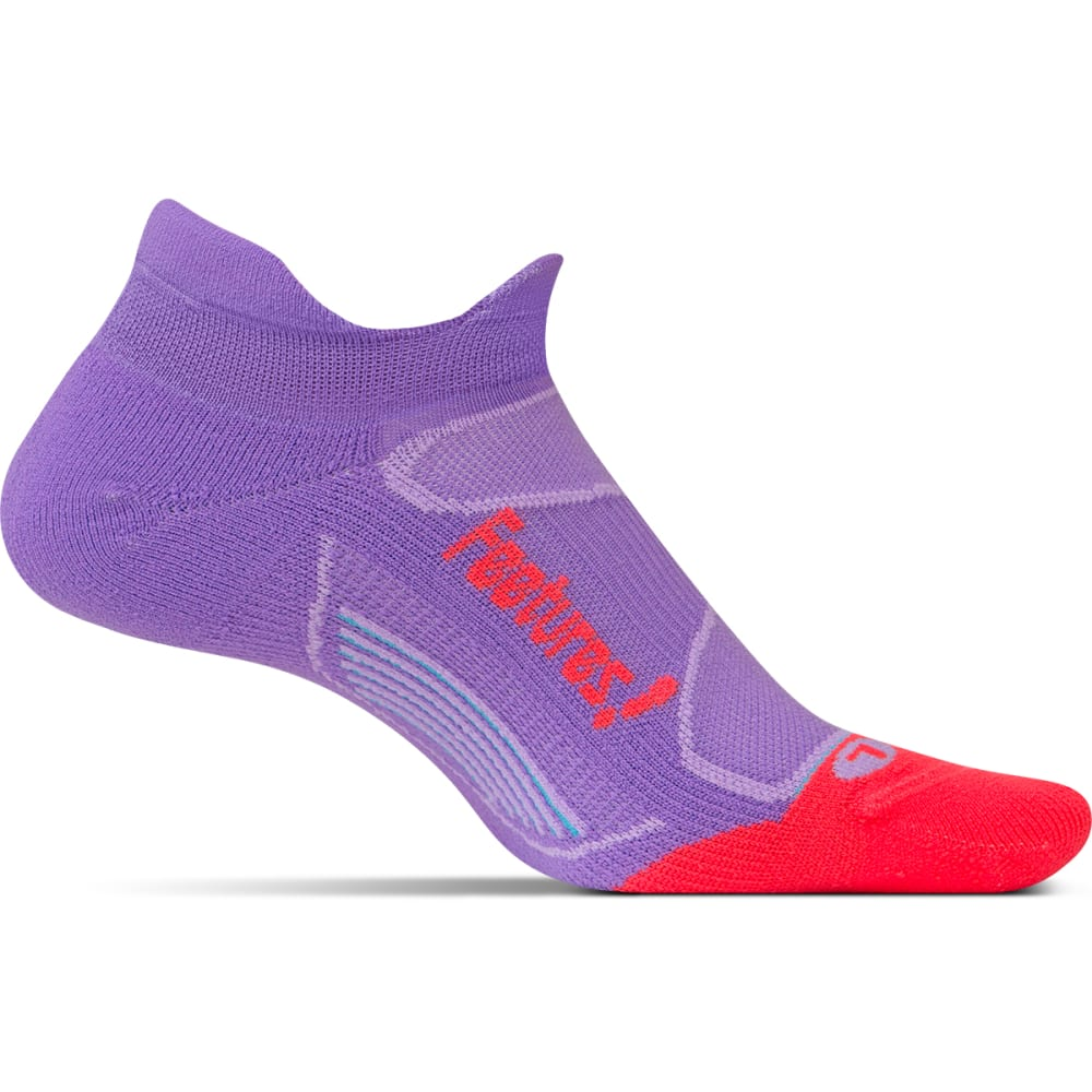 FEETURES Unisex Elite Light Cushion No-Show Tab Socks - VIOLA/LAVA