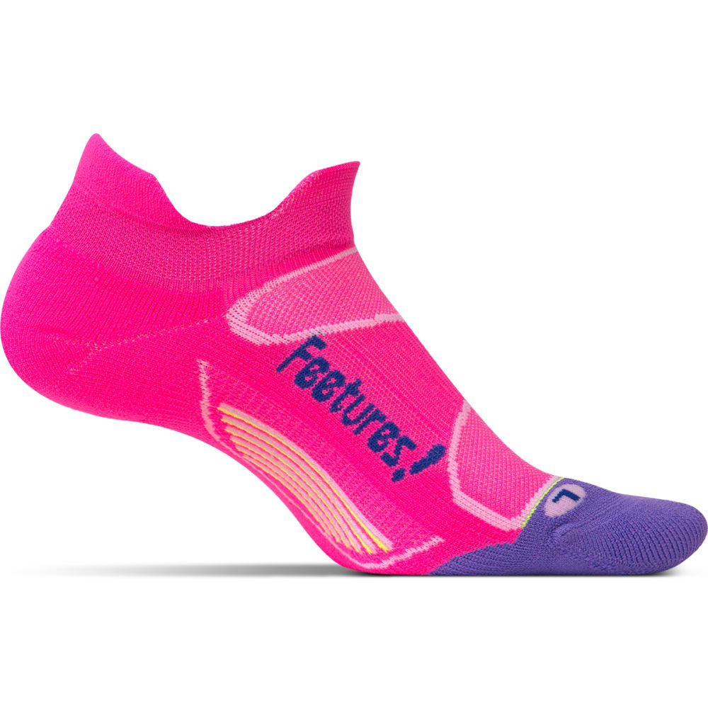 FEETURES Unisex Elite Light Cushion No-Show Tab Socks - PINK POP/IRIS
