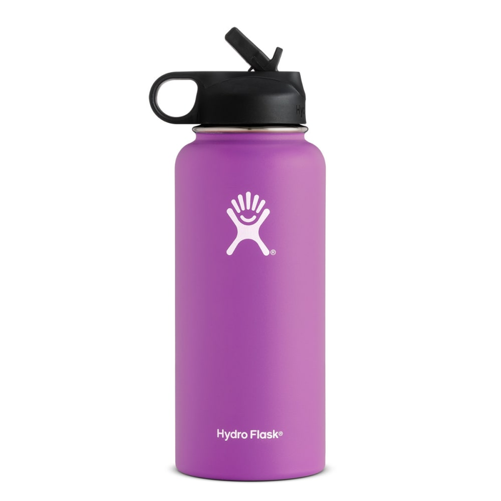 HYDRO FLASK 32 oz. Wide Mouth Water Bottle with Straw Lid - RASPBERRY