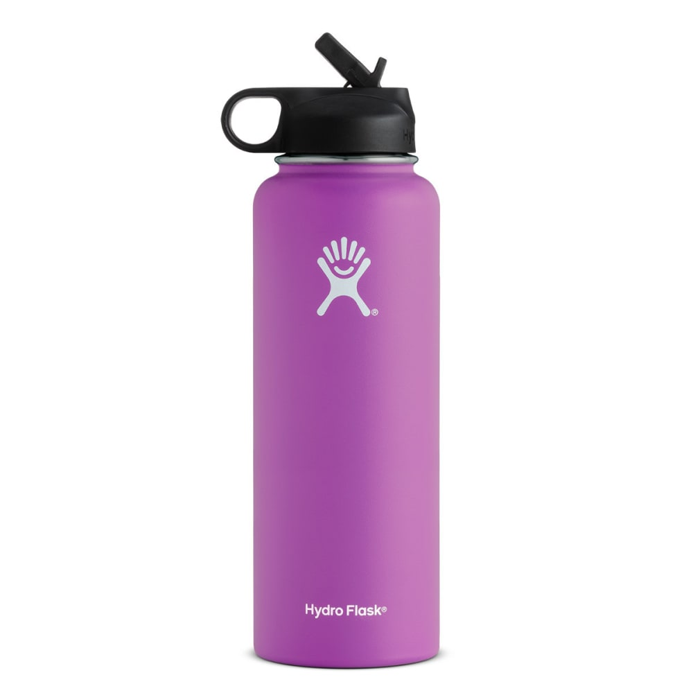 HYDRO FLASK 40 oz. Wide Mouth Water Bottle with Straw Lid - RASPBERRY