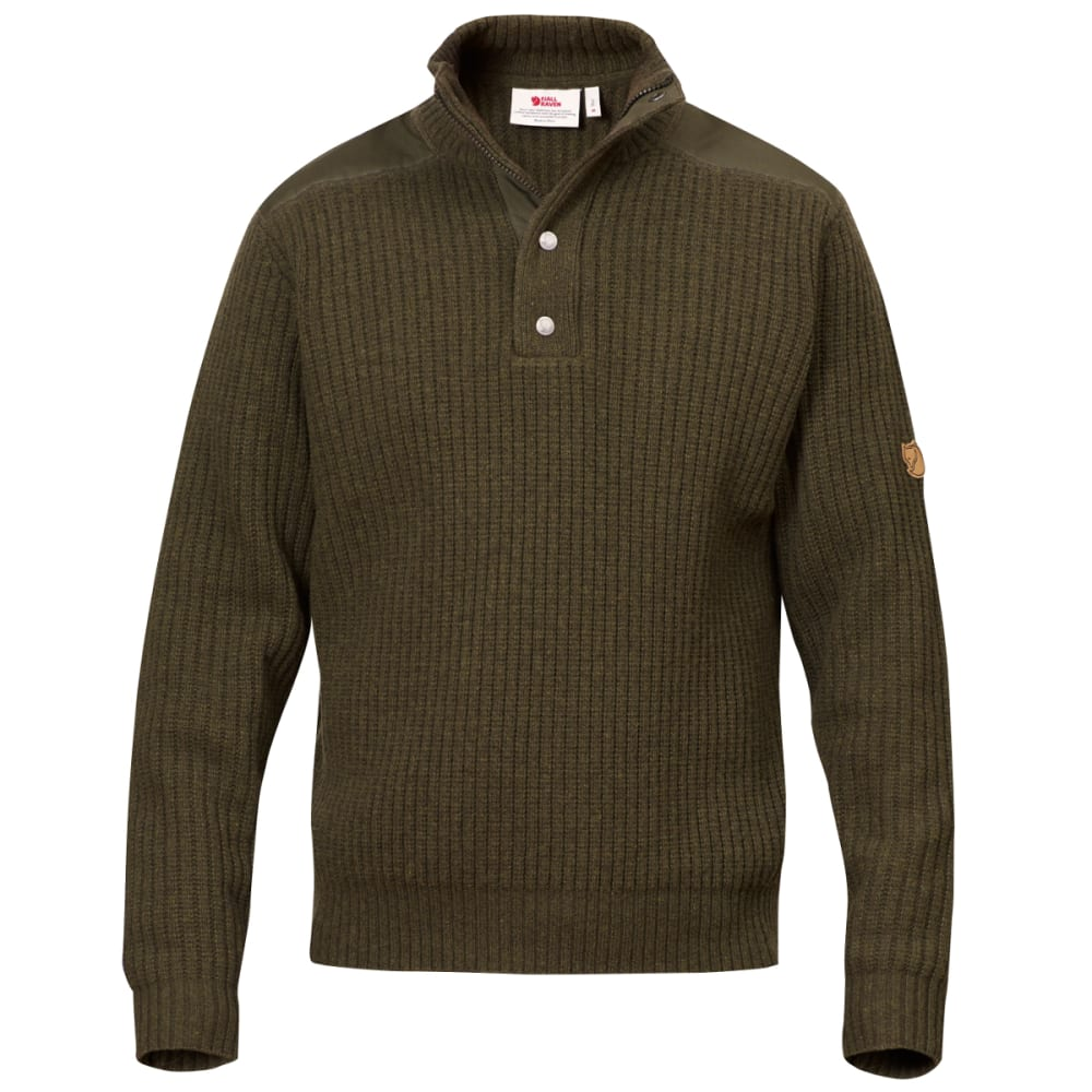 FJÄLLRÄVEN Men's Varmland T-Neck Sweater - DARK OLIVE