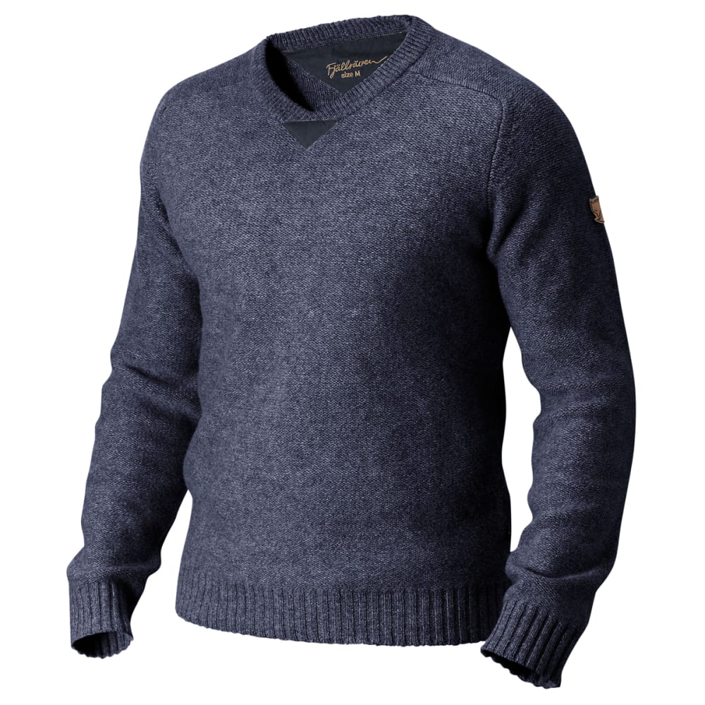 FJALLRAVEN Men's Woods Sweater - DARK NAVY/BLACK BRWN