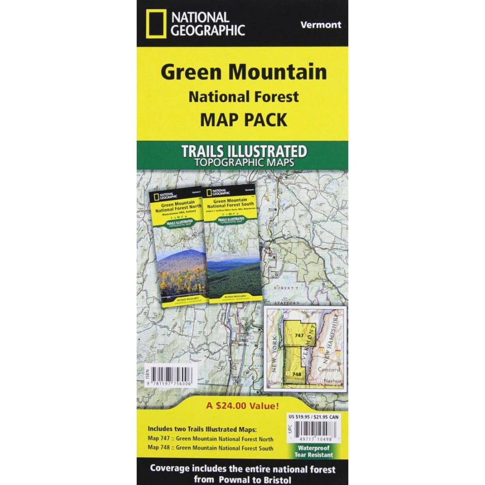 NATIONAL GEOGRAPHIC Trails Illustrated Green Mountain National Forest Map Pack Bundle - NO COLOR