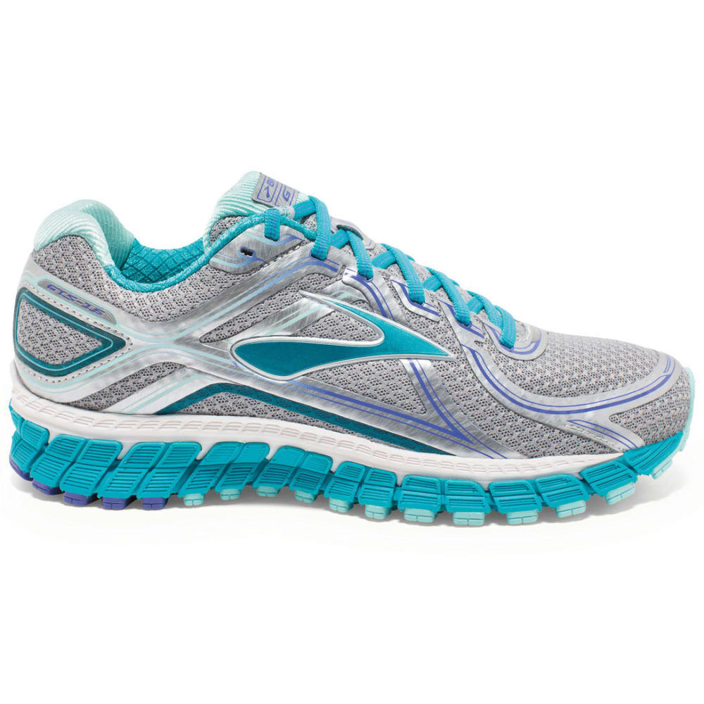 BROOKS Women's Adrenaline GTS 16 Running Shoes, Silver/Bluebird - SILVER/BLUEBIRD