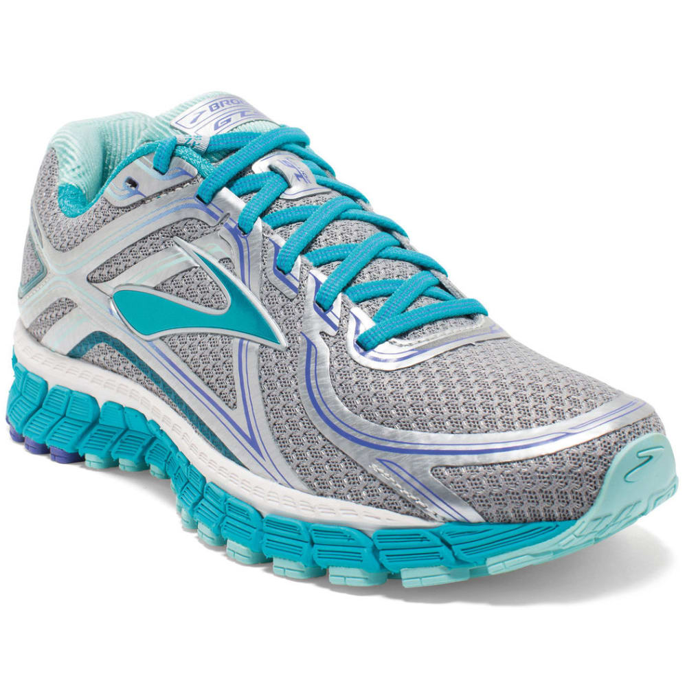 BROOKS Women's Adrenaline GTS 16 Running Shoes, Wide, Silver/Bluebird - SILVER/BLUEBIRD