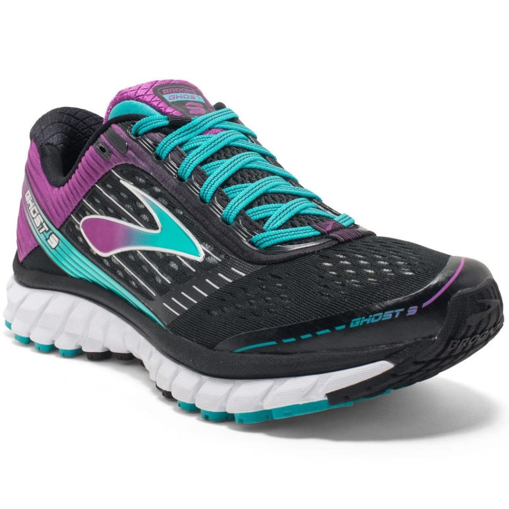 BROOKS Women's Ghost 9 Running Shoes, Wide, Black/Sparkling Grape - BLACK/GRAPE