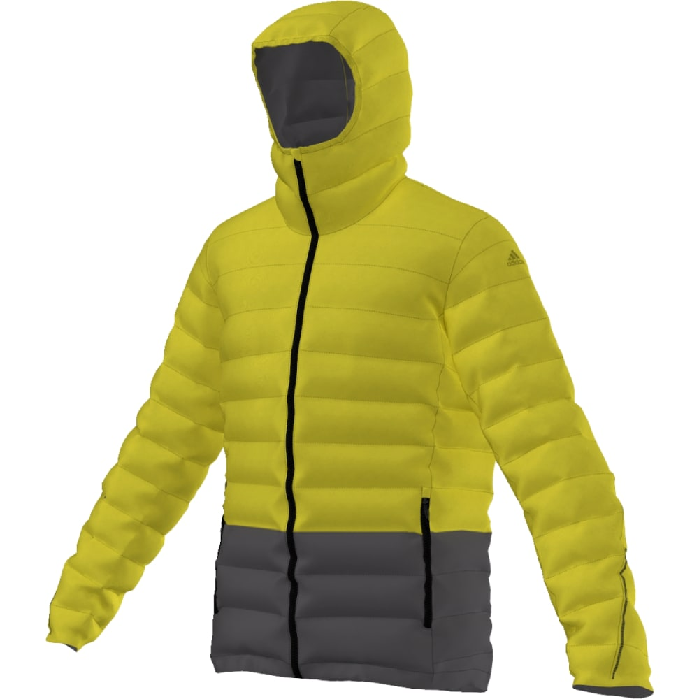 ADIDAS Men's Light Down Hooded Jacket - UNITY LIME/U BLACK