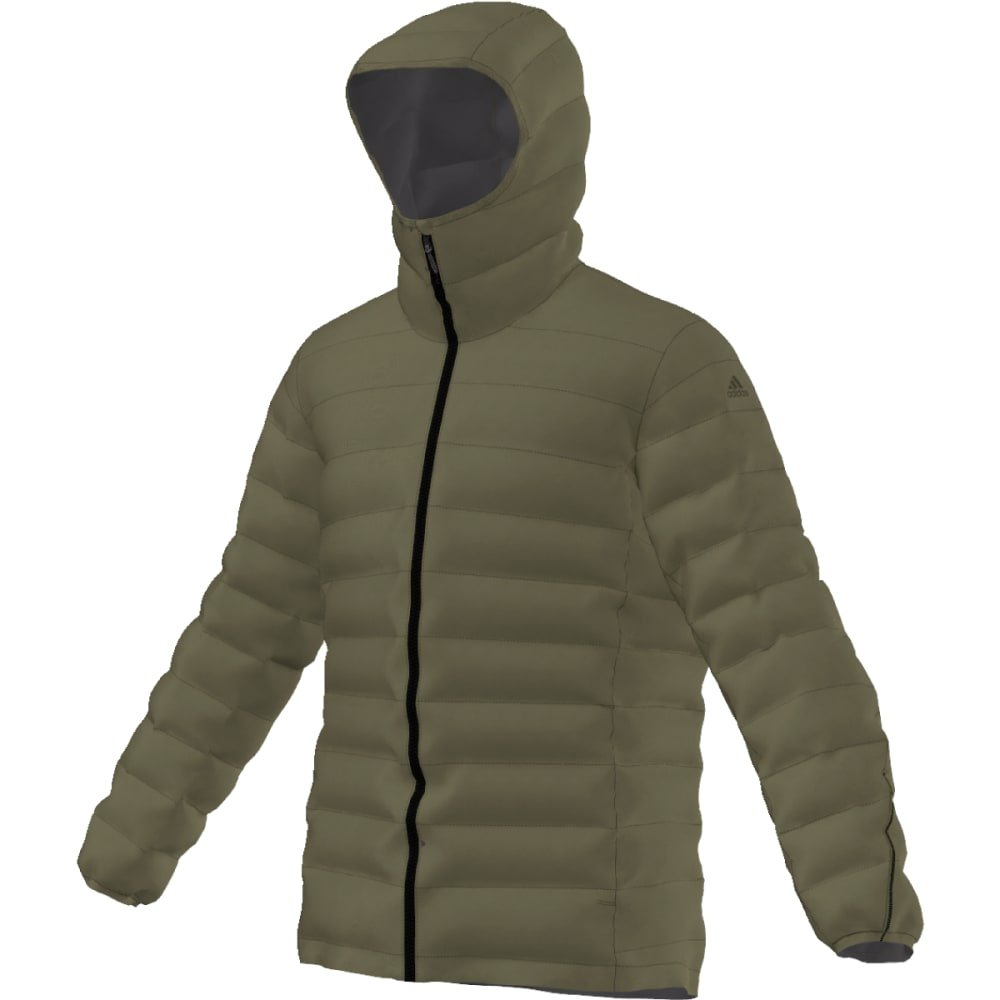 ADIDAS Men's Light Down Hooded Jacket - OLIVE CARGO