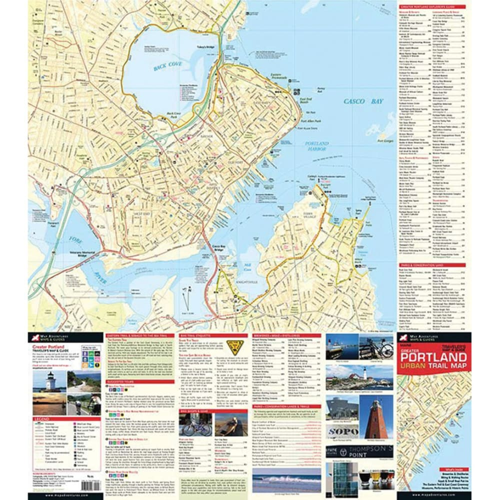 MAP ADVENTURES Greater Portland, Maine Urban Trail Map - NO COLOR